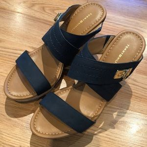 Navy Tommy Hilfiger wedge sandals - size 9.5